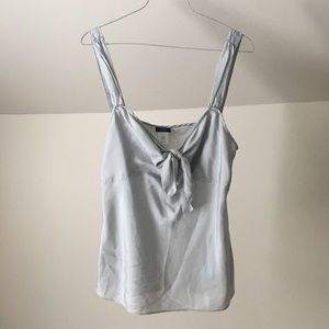 J. CREW Gray Silk Knotted Neckline Cami Tank Top